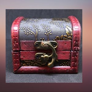 Wood Trinket Box - Silk Brocade & Brass Hardware